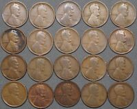 1909 - 1919 LINCOLN CENT SET, 20 DIFF DATES, INCLUDES: 1909-VDB, 1910-S & 1911-D
