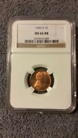 1945 S LINCOLN CENT MINT STATE 66 RB