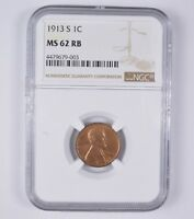 MINT STATE 62RB 1913-S LINCOLN WHEAT CENT - NGC GRADED 7115