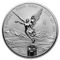 2017 MEXICO 5 OZ SILVER REVERSE PROOF LIBERTAD