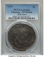 1797 DRAPED BUST DOLLAR, PCGS EXTRA FINE  DETAILS, B-3, BB71, R-2, LOW MINTAGE
