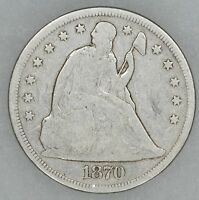 1870 SEATED LIBERTY SILVER DOLLAR $1 VG  GOOD 5008