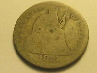 1876-P ARROWS SEATED LIBERTY DIME AG