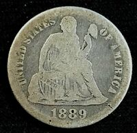 1889 10 CENT SEATED LIBERTY DIME US SILVER COIN