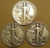 LIBERTY WALKING HALF DOLLARS THREE 90 SILVER 1935 1936 1937