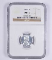 MINT STATE 66 1943 STEEL LINCOLN WHEAT CENT - NGC GRADED 9448