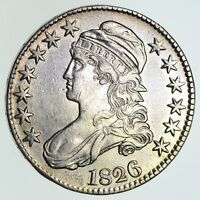 1826 CAPPED BUST HALF DOLLAR - NEAR UNCIRCULATED - CLEANED 4665