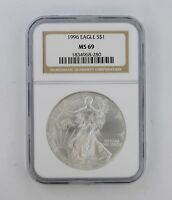 MINT STATE 69 1996 AMERICAN SILVER EAGLE - NGC GRADED 8342
