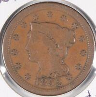 1852 1C BN BRAIDED HAIR CENT  GOOD CONDITION 170982