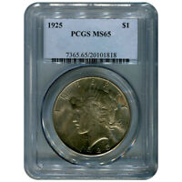 CERTIFIED PEACE SILVER DOLLAR 1925 MINT STATE 65 PCGS