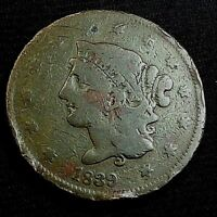 1839 CORONET HEAD LARGE CENT US COIN