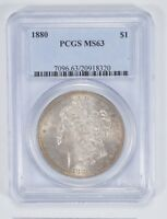 MINT STATE 63 1880 MORGAN SILVER DOLLAR - PCGS GRADED 9153