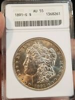 1891-S  MORGAN SILVER DOLLAR $1 ANACS  AU55 GRADED CERTIFIED REAL COIN
