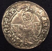 1380 1520 FRANCE GROS SILVER HAMMERED COIN ROBERTS 8932 METZ MINT EF/XF/AU