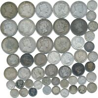 53 OLD SILVER COINS FROM NEWFOUNDLAND CANADA 1872 1945