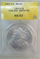 1901 O MORGAN DOLLAR ANACS MINT STATE 63 VAM 39A DOUBLED TOP REV./CLASH SUPERCD BR