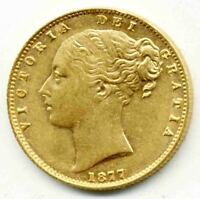 1877 S QUEEN VICTORIA FULL SIDNEY SHIELD BACK GOLD SOVEREIGN