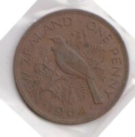 H101 12  1964 NZ ONE PENNY COIN  L