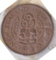 H101 2  1963 NZ 1/2 PENNY COIN  B