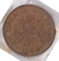H101 8  1964 NZ ONE PENNY COIN  H