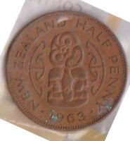H101 3  1963 NZ 1/2 PENNY COIN  C