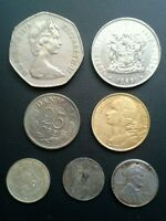 7 WORLD COINS SOUTH AFRICA GR BRITAIN FRANCE DENMARK PHILIPPINES HUNGARY US