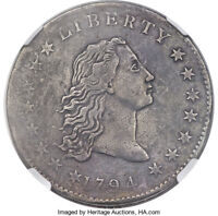 1794 FLOWING HAIR SILVER DOLLAR  NGC VF B-1 BB-1 R-4  COIN & GREAT DETAILS