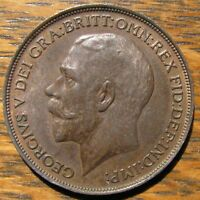 1911 GEORGE V PENNY   BROWN UNCIRCULATED WITH A HINT OF MINT RED