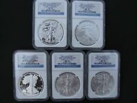 2011 25TH ANNIVERSARY AMERICAN SILVER EAGLE SET NGC MS70 ER PR70 ER