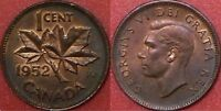 BRILLIANT UNCIRCULATED 1952 CANADA 1 CENT MAYBE TONED