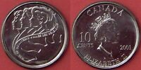 BRILLIANT UNCIRCULATED 2001P CANADA VOLUNTEER 10 CENTS FROM MINT'S ROLL