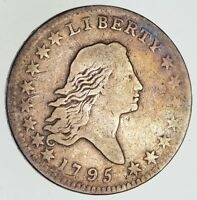 1795 FLOWING HAIR SILVER HALF DOLLAR - TWO LEAVES - CIRCULATED 4865