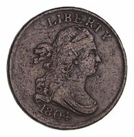 1804 DRAPED BUST HALF CENT - CIRCULATED 1612
