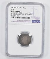 JR-1 FINE DETAILS 1805 DRAPED BUST DIME - 5 BERRIES - NGC GRADED 2009
