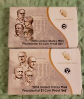 2013-S & 2014-S PROOF PRESIDENTIAL DOLLAR COIN SETS WITH BOXES AND COA 235