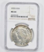 MINT STATE 64 1925-S PEACE SILVER DOLLAR - NGC GRADED 1993