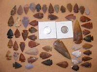 INDIAN-BUFFALO & LIBERTY NICKEL W/ 50 ARROWHEADS/SPEARHEADS FLINT CHERT 8