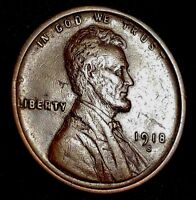 1918-S LINCOLN CENT WITH SMALL LAMINATION ERROR AU