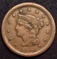 1853 BRAIDED HAIR CORONET LARGE CENT PENNY VF N 28 R.4 NEWCOMB 1C