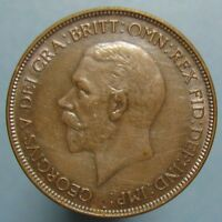 1929 GEORGE V PENNY   LUSTROUS BROWN & BLUE CHOICE AU