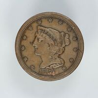1851 BRAIDED HAIR HALF CENT 1/2C DETAILS AU ABOUT UNCIRCULATED 6104