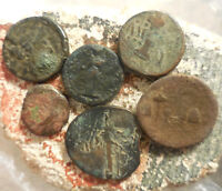 LOT OF 6 ANCIENT GREEK COINS LARGEST 22.5 MM.