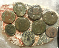 LOT OF 9 ANCIENT ROMAN COINS LARGEST 19 MM.