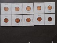 LOT OF 10 DIFFERENT LINCOLN CENTS BU 1983 86D 88 89 90 91 92 93 94 95