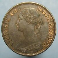 1866 VICTORIA YOUNG HEAD FARTHING   BROWN UNCIRCULATED WITH A BIT OF MINT RED
