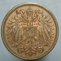1897 AUSTRIAN 2 HELLER   BROWN UNCIRCULATED WITH A HINT OF MINT RED