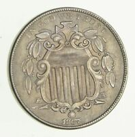 1867 SHIELD NICKEL - WITHOUT RAYS - CIRCULATED 2974