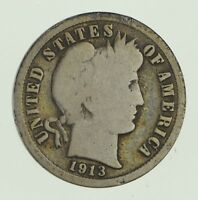 1913-S BARBER DIME - CIRCULATED 1967