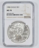 MS70 1986 AMERICAN SILVER EAGLE - NGC GRADED 1798