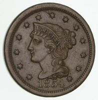 1854 BRAIDED HAIR LARGE CENT - CIRCULATED 4170